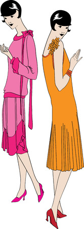 The vector image of two fashionable girls of the beginning of the twentieth century Stock Vector - 4684246