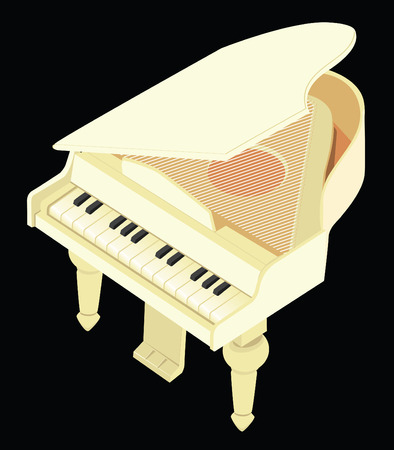 grand kids: The vector image of a toy grand piano dairy colour