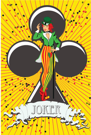 Vector illustration of a joker against a symbol of clubs Vector