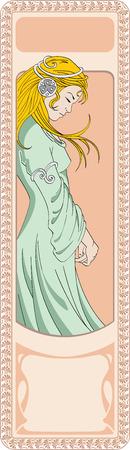 longing: The longing girl in northern stylistics art-deko Illustration