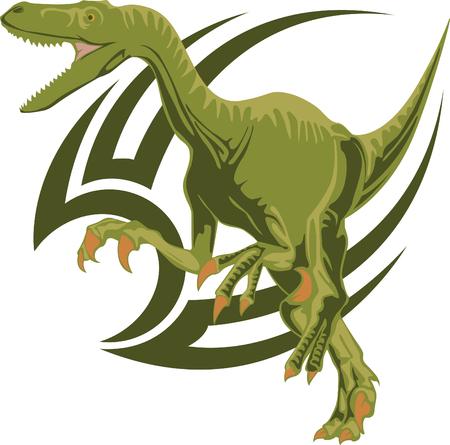 The sketch of a tattoo of a predatory dinosaur Velociraptor