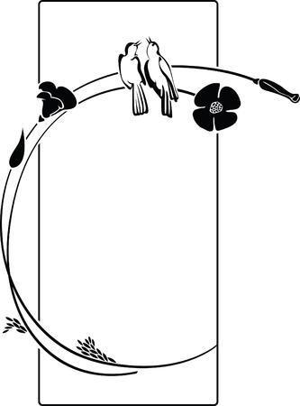 Elegant silhouet van bloemen frame met vogels  Stock Illustratie