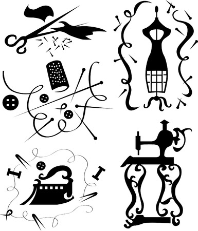Set of decorative elements of the fashion designer of clothes