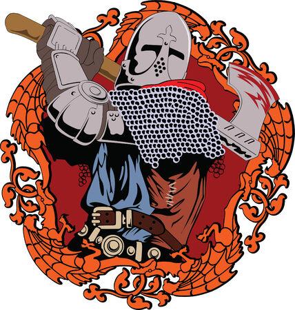 Voorbeeld van de middeleeuwse ridder swingende een bijl vecht  Vector Illustratie