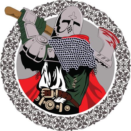 espadas medievales: Ilustraci�n del caballero medieval blandiendo un hacha de combate Vectores