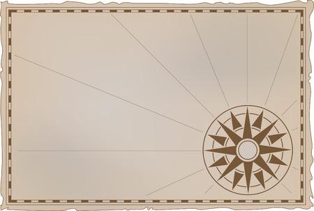 Illustrazione vettoriale - una carta antica con un vento rosa dei venti