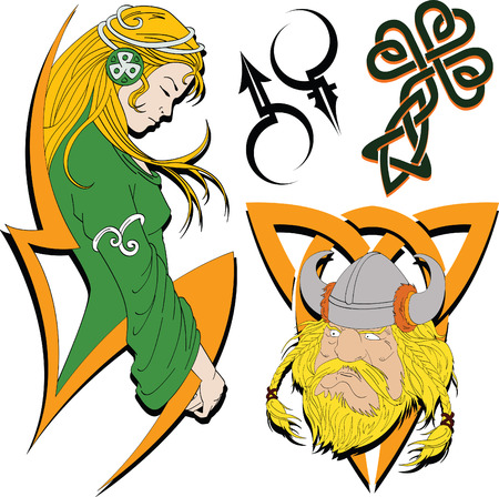 Set of sketches for tattoos in the Celtic stylistics Stock Vector - 4787057