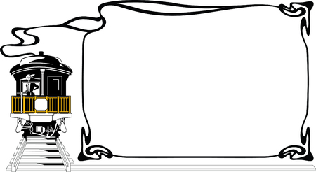 Framework - The girl on a footboard of an ancient train Illustration