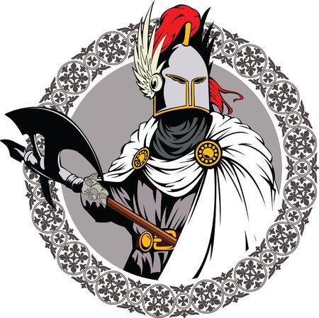 Illustratie van de middeleeuwse ridder swingende een gevechten bijl