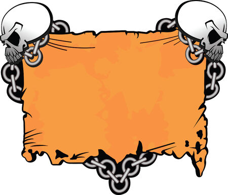 The developed roll with skulls chained to it a chain Vector