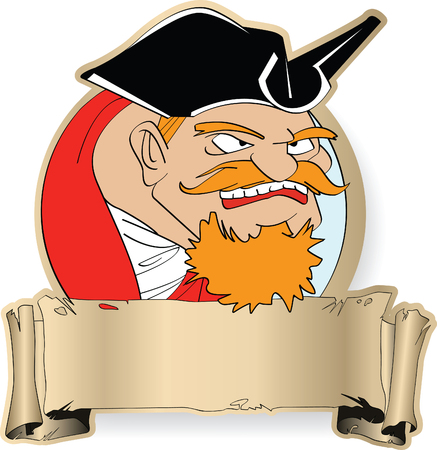 The angry captain of the piracy ship with red moustaches Vector