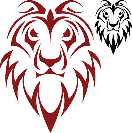 the lions: El vector de esbozar un tatuaje de una cabeza de un le�n