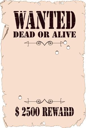 viejo oeste: El cartel sobre la b�squeda de los criminales en el estilo del salvaje Oeste Vectores
