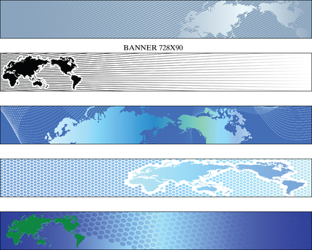 Preparations the Internet of banners with a theme of a card the world Vector