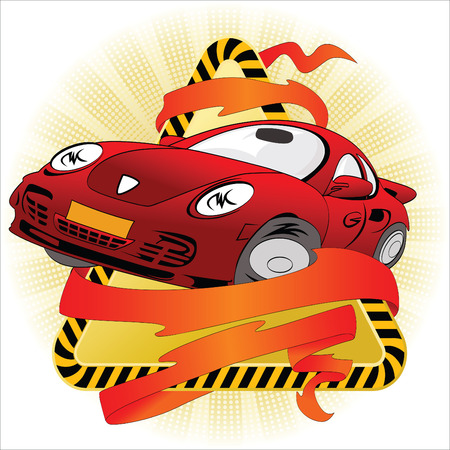 The car against a warning sign and intertwined with a tape Stock Vector - 4990801