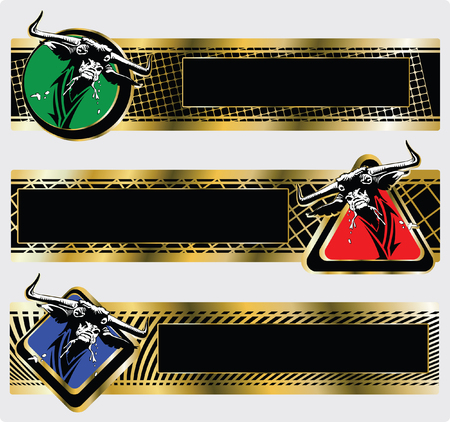 Three banners with the Muzzle of a furious bull Vector