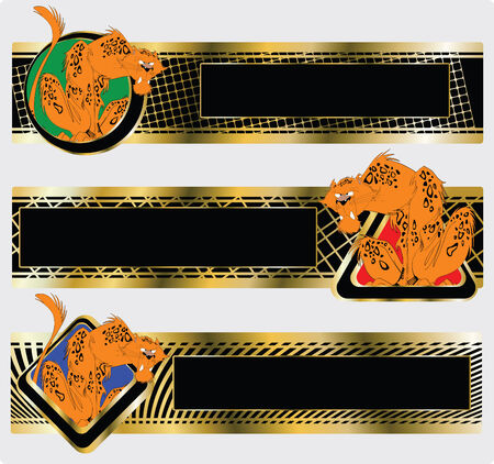 Three banners with the image of an amusing leopard Vector