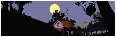 Vector night landscape with the house, a tree and an owl against the moon Vector