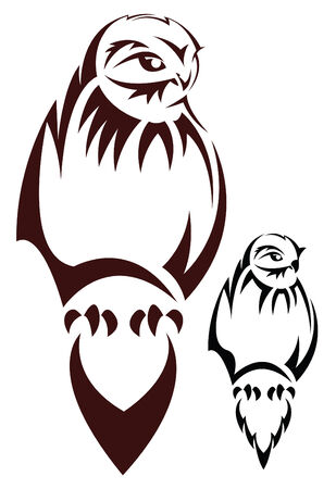 Vector illustration - the sketch of a tattoo of a sitting owl Vector
