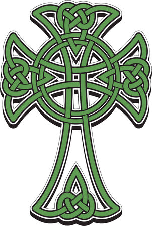 The Celtic cross from the intertwined lines Vector