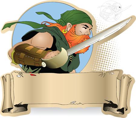buccaneer: Redbeard pirate with cutlass against a banner