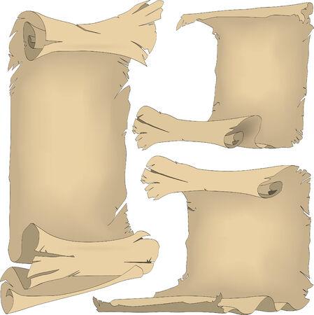 papiro: Tre rulli vecchi con i bordi della forte-roteare