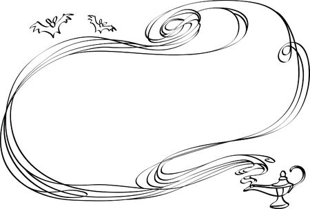 aladdin: Abstract border from a smoke pulled out from a magic lamp Illustration