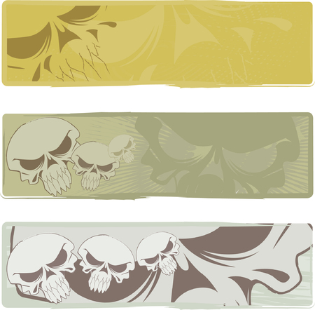 Three vector backgrounds on the basis of an abstract skull Vector