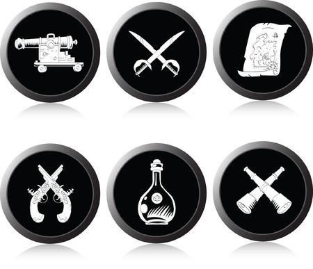 Satz von Monochrom-Symbole zum Thema Piraterie