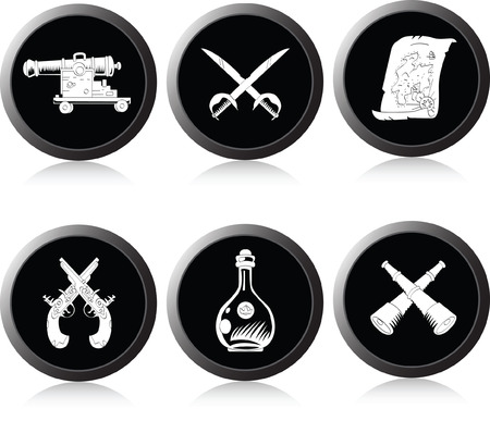 toy chest: Set of monochrome icons on a piracy theme