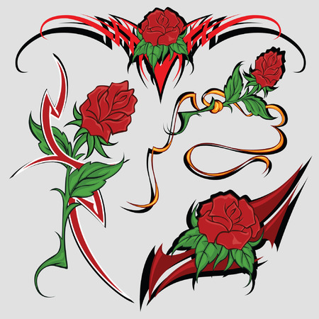 tattoo rose: Selection of sketches with colours of a rose both tribal  for registration and tattoo Illustration