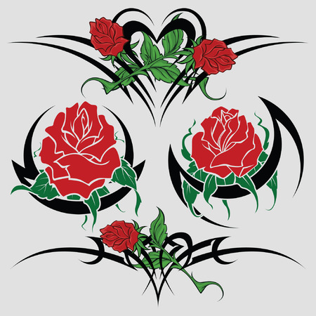 rose tattoo: Selection of sketches with colours of a rose both tribal  for registration and tattoo Illustration