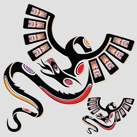 tatouage dragon: Dragon ethniques nationales dans le style des Indiens d'Am�rique