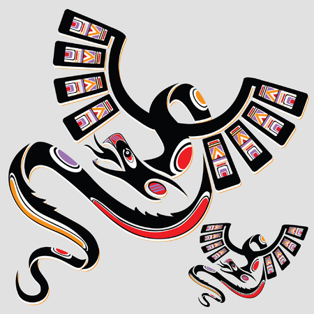 Dragon in ethnic national style of the American Indians Vector