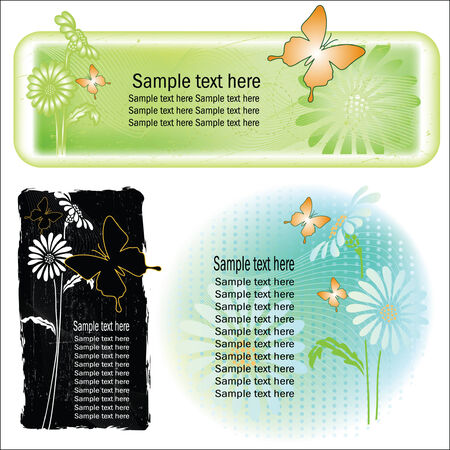 Three vector backgrounds on the basis of plants Vector
