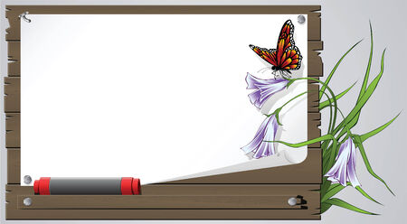 battu: Le papillon sur la feuille de papier sur une planche � coups de planches