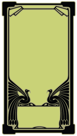 Abstract border with the bird who has stretched wings in style art-nouveau Vector