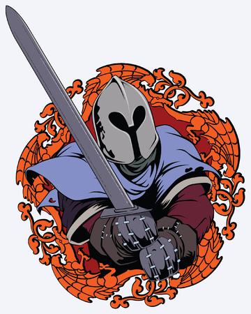caballero medieval: Ilustraci�n del caballero medieval balance�ndose una espada Vectores