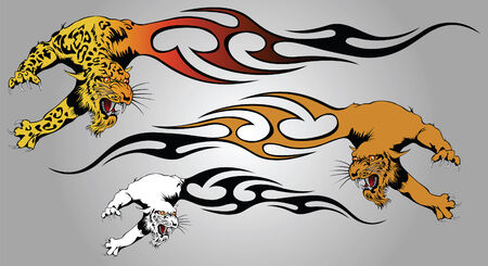 predators: Panther in a throw from tongues of flame for design and a tattoo