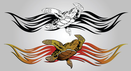 Vector drawing of a floating turtle for design and tattoos Vector
