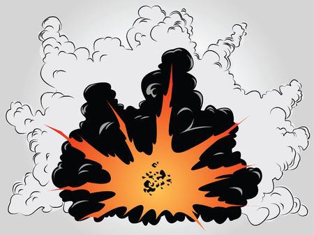 explosion: Das Bild Vektor der gro�en Explosion in Asche und Rauch Wolken