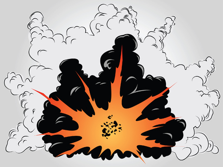 The vector image of the big explosion in ashes and smoke clouds Stock Vector - 5536929