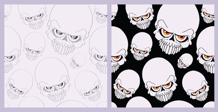 damnation: Seamless backgrounds on the basis of an abstract skull