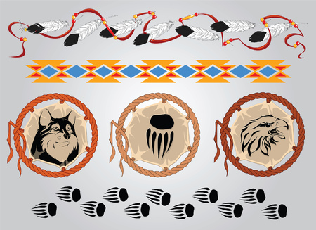 claws: Set of sketches for tattoos and design on an American Indian theme