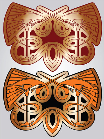 Paradise birds bound in the butterfly in Celtic and Byzantian style Vector