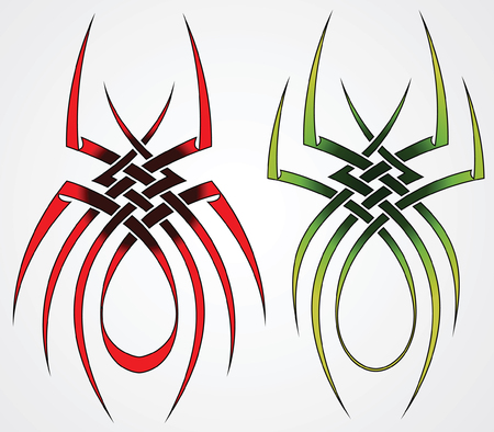 Set of templates of spiders for tattoos and design Vector