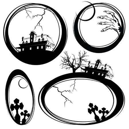 Set of sketches on a holiday theme halloween for registration and design Vector