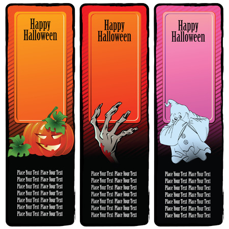 Set of banners on a holiday theme halloween for registration and design Vector