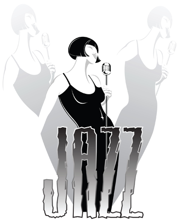 stylish jazz singer performing a song in the retro microphone Vector