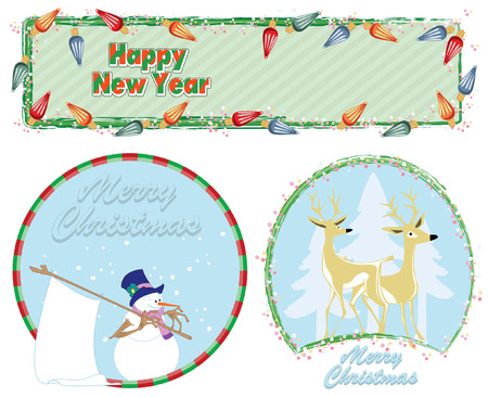 newyears: greeting card - Happy Christmas And New-Years